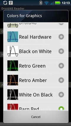 Some of the available color themes available for HP48 graphics